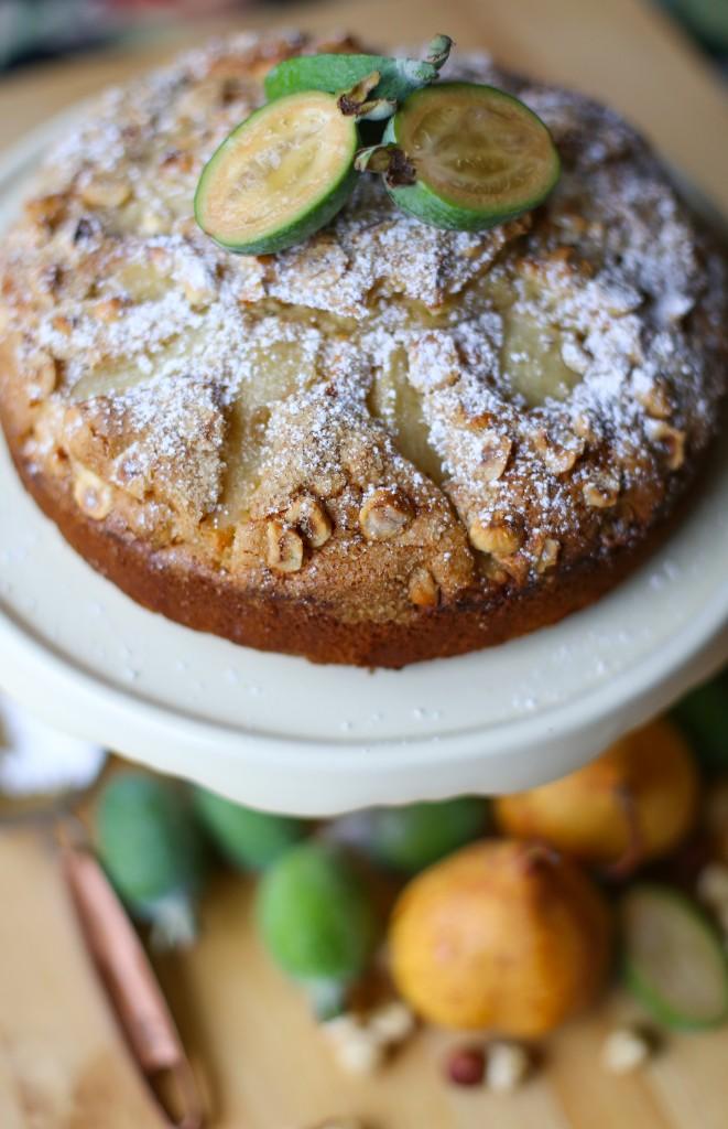 pear and feijoa cake